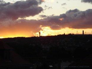 Zachód słońca ze Wzgórza Wyszehrad